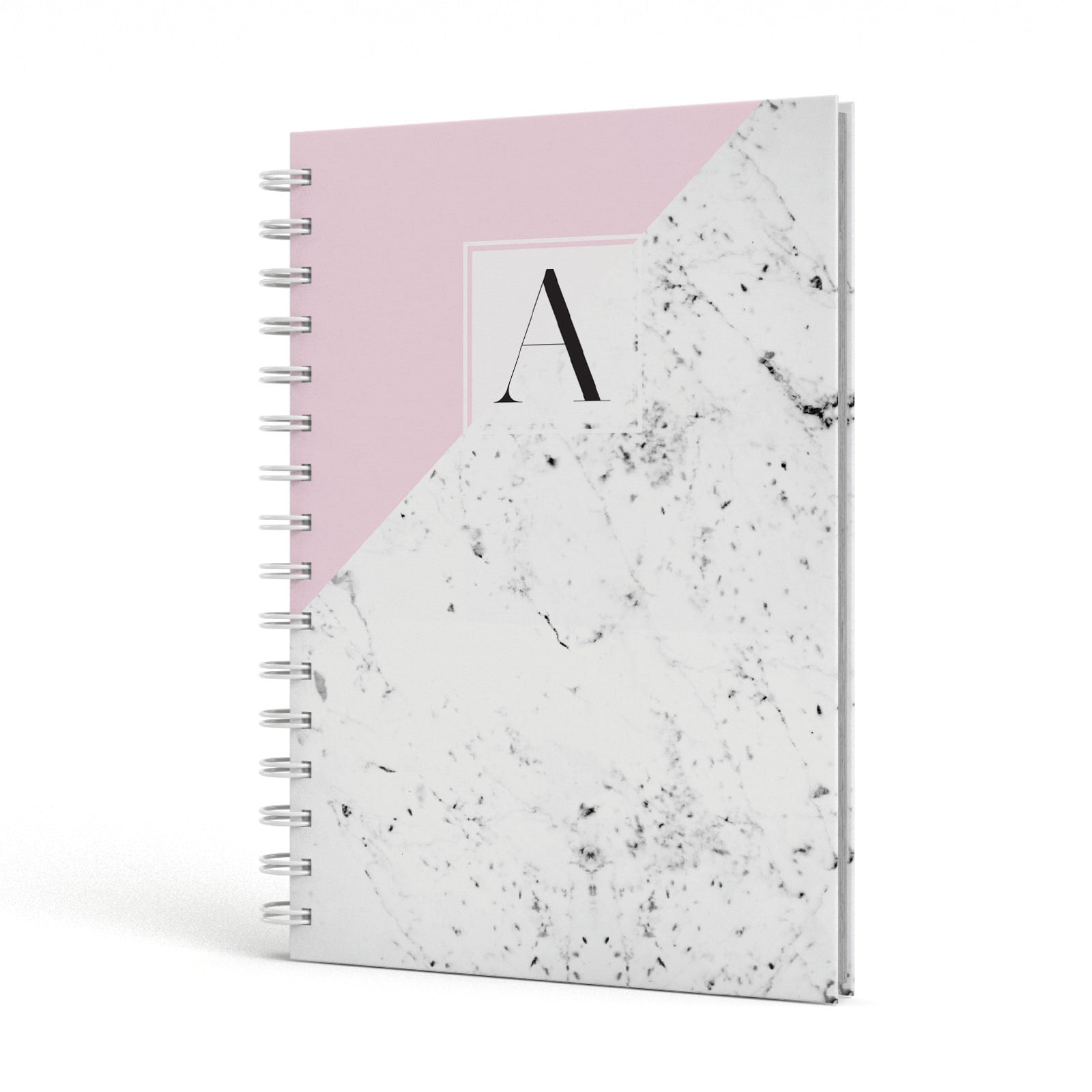 Personalised Monogram Initial Letter Marble A5 Hardcover Notebook Side View