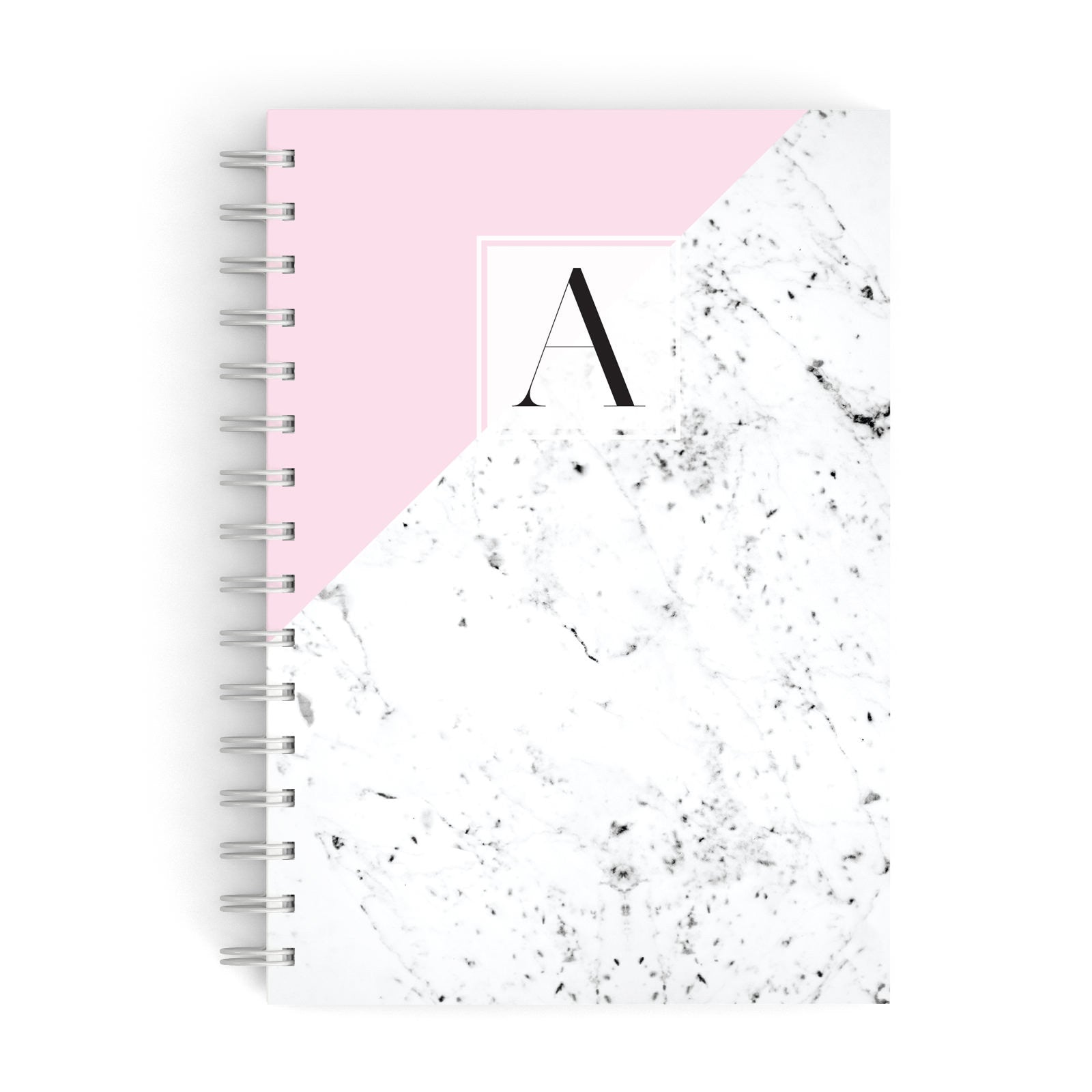 Personalised Monogram Initial Letter Marble A5 Hardcover Notebook