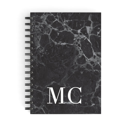 Personalised Monogram Marble A5 Hardcover Notebook