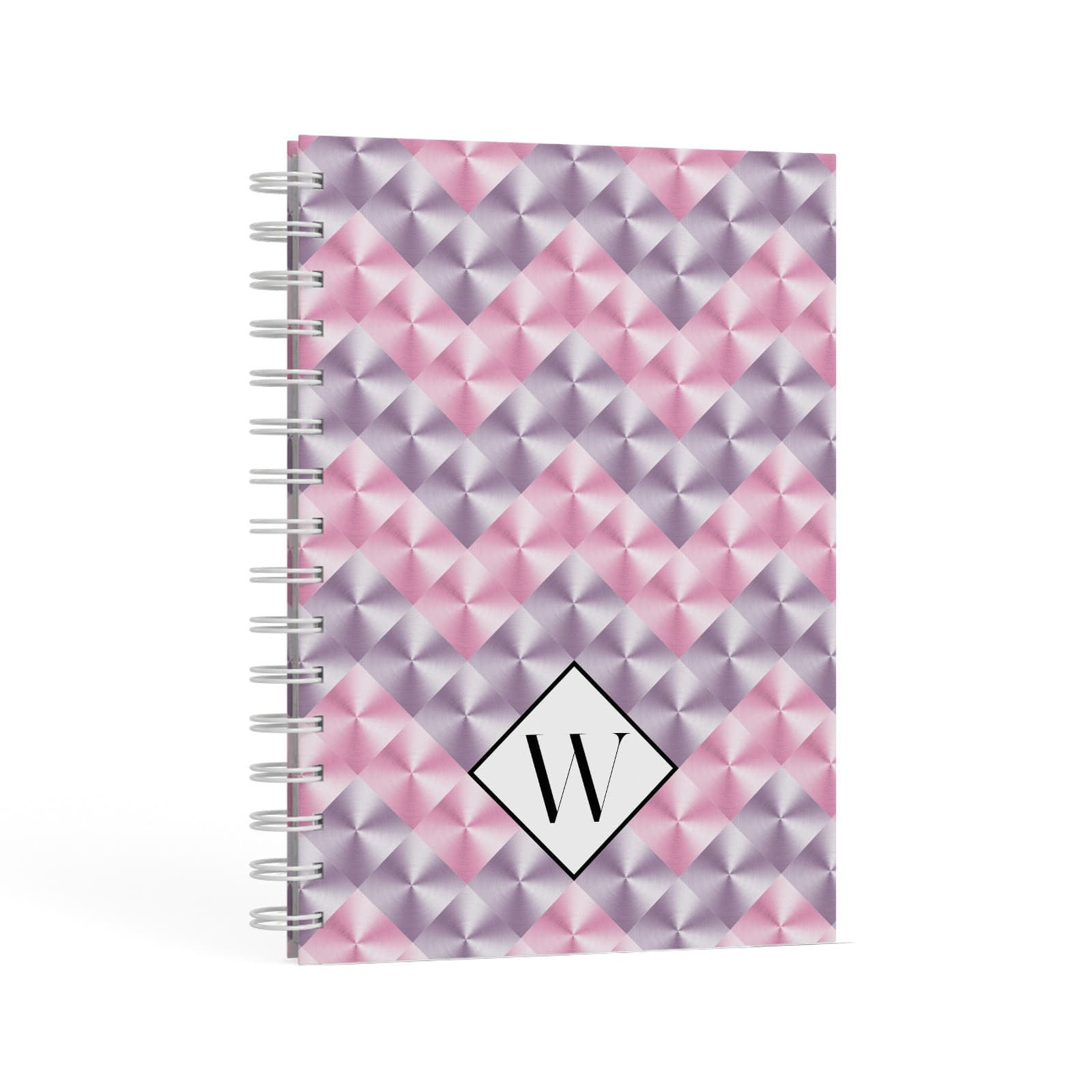 Personalised Mother Of Pearl Monogram Letter A5 Hardcover Notebook Second Side View
