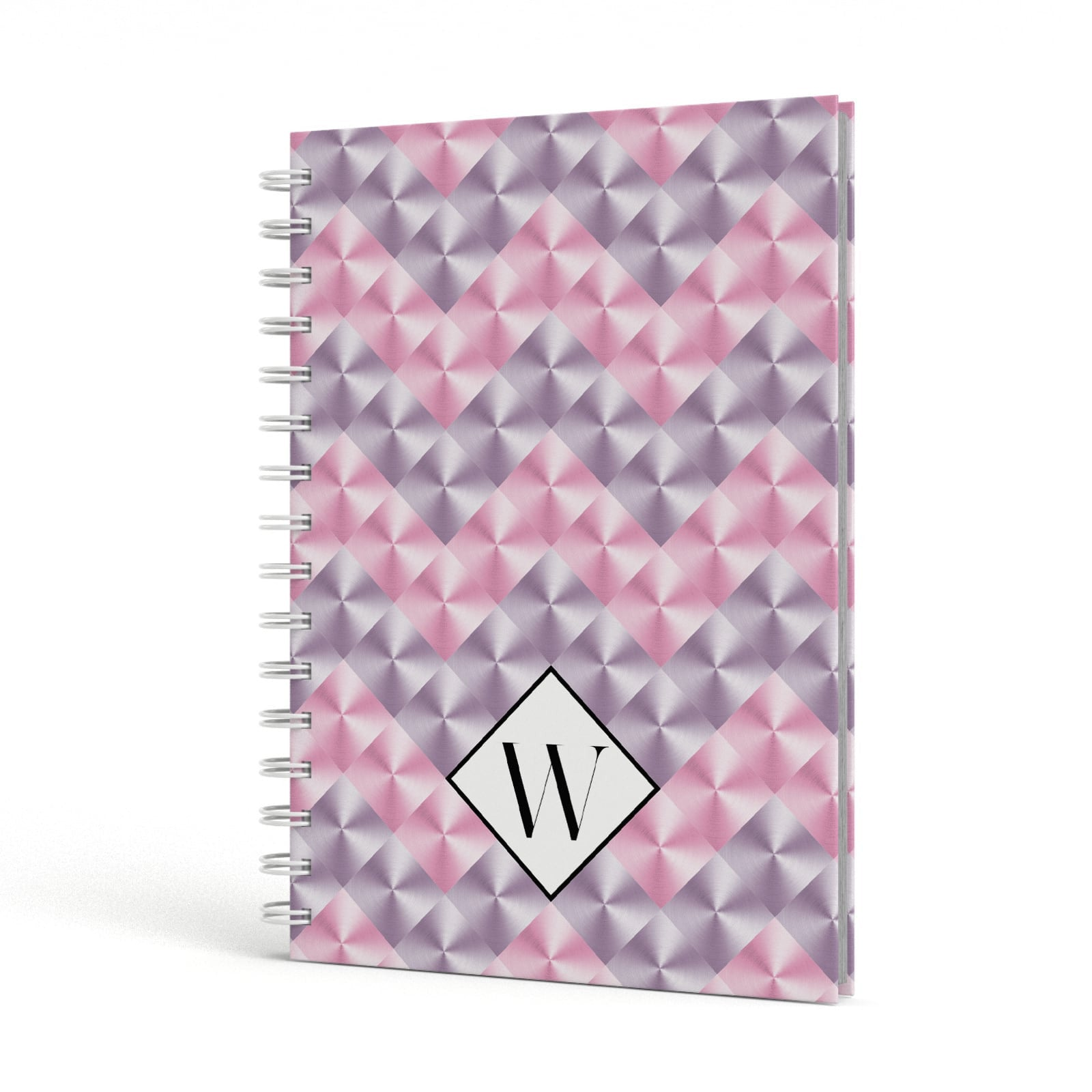 Personalised Mother Of Pearl Monogram Letter A5 Hardcover Notebook Side View