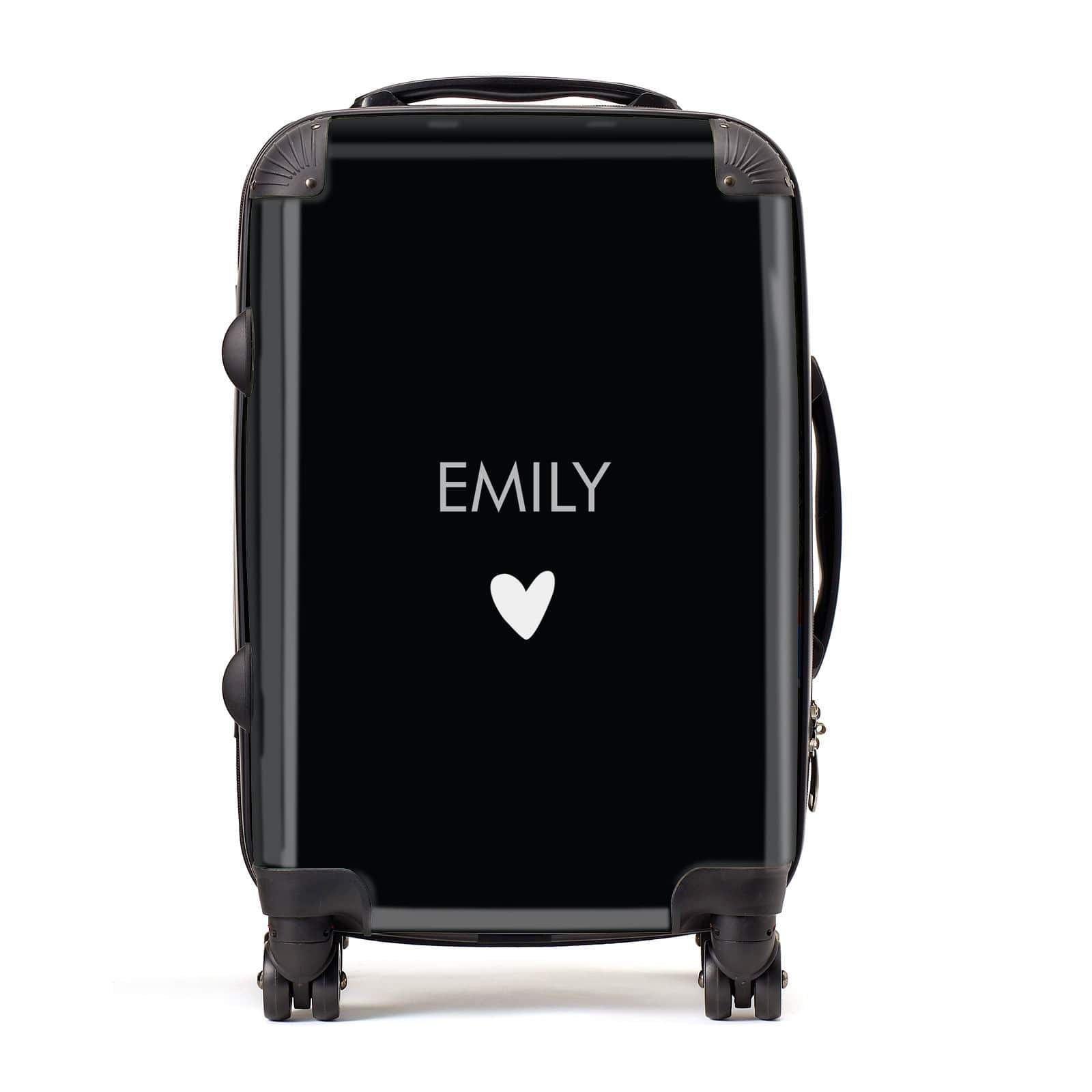 Personalised Name & Heart Black Suitcase