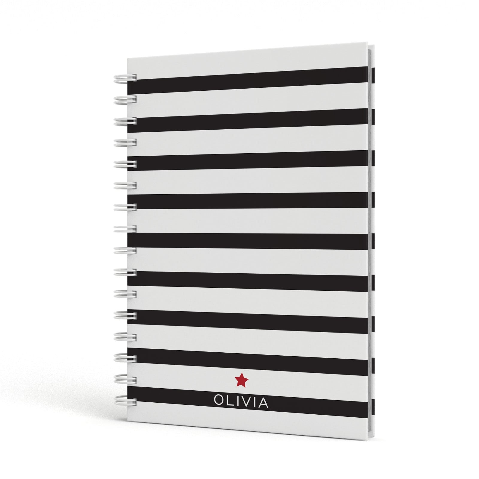 Personalised Name Black White A5 Hardcover Notebook Side View
