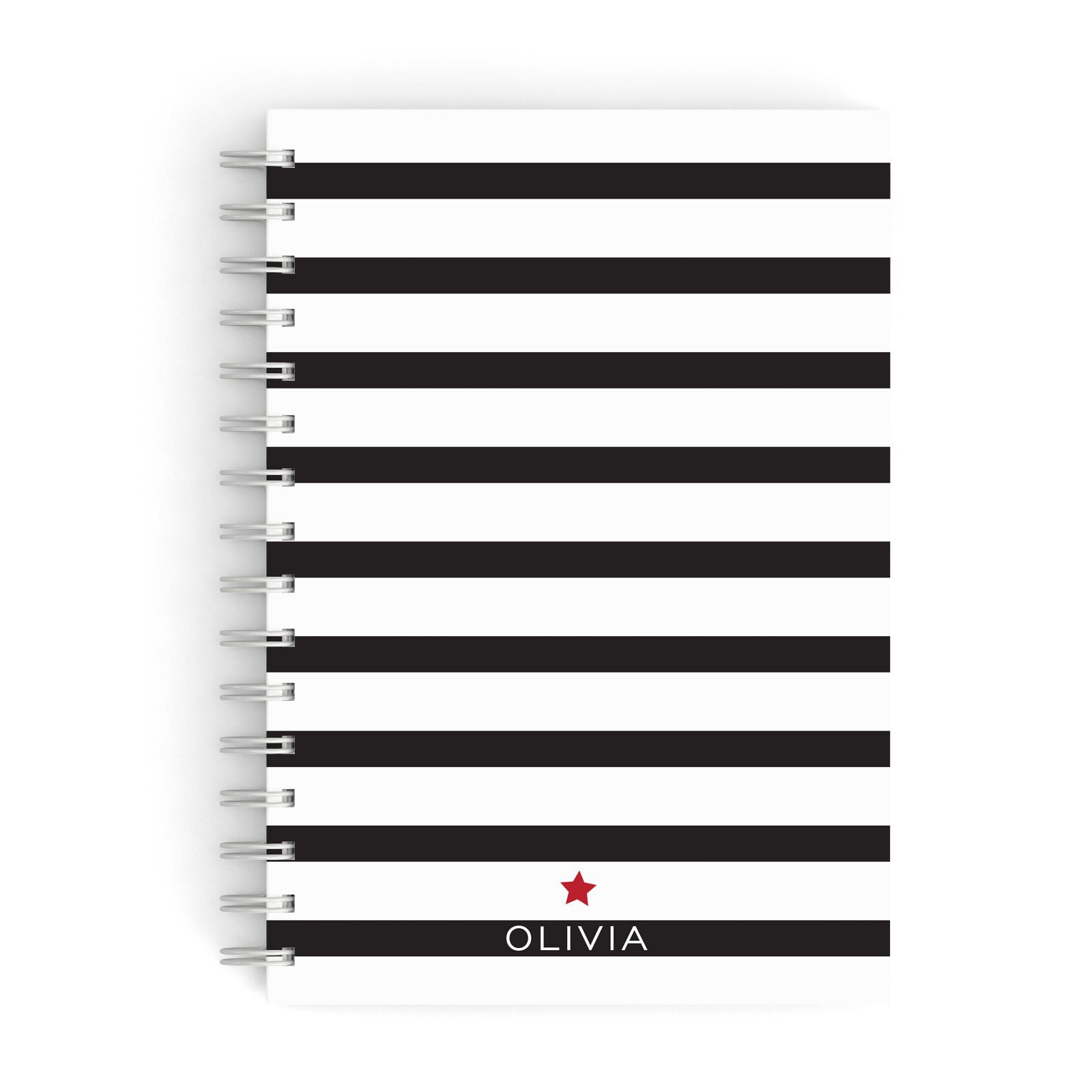 Personalised Name Black White A5 Hardcover Notebook