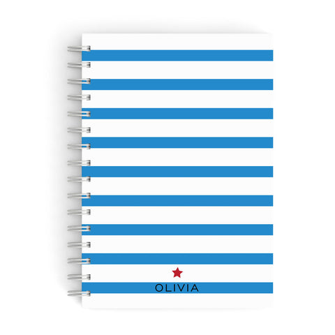 Personalised Name Blue White A5 Hardcover Notebook
