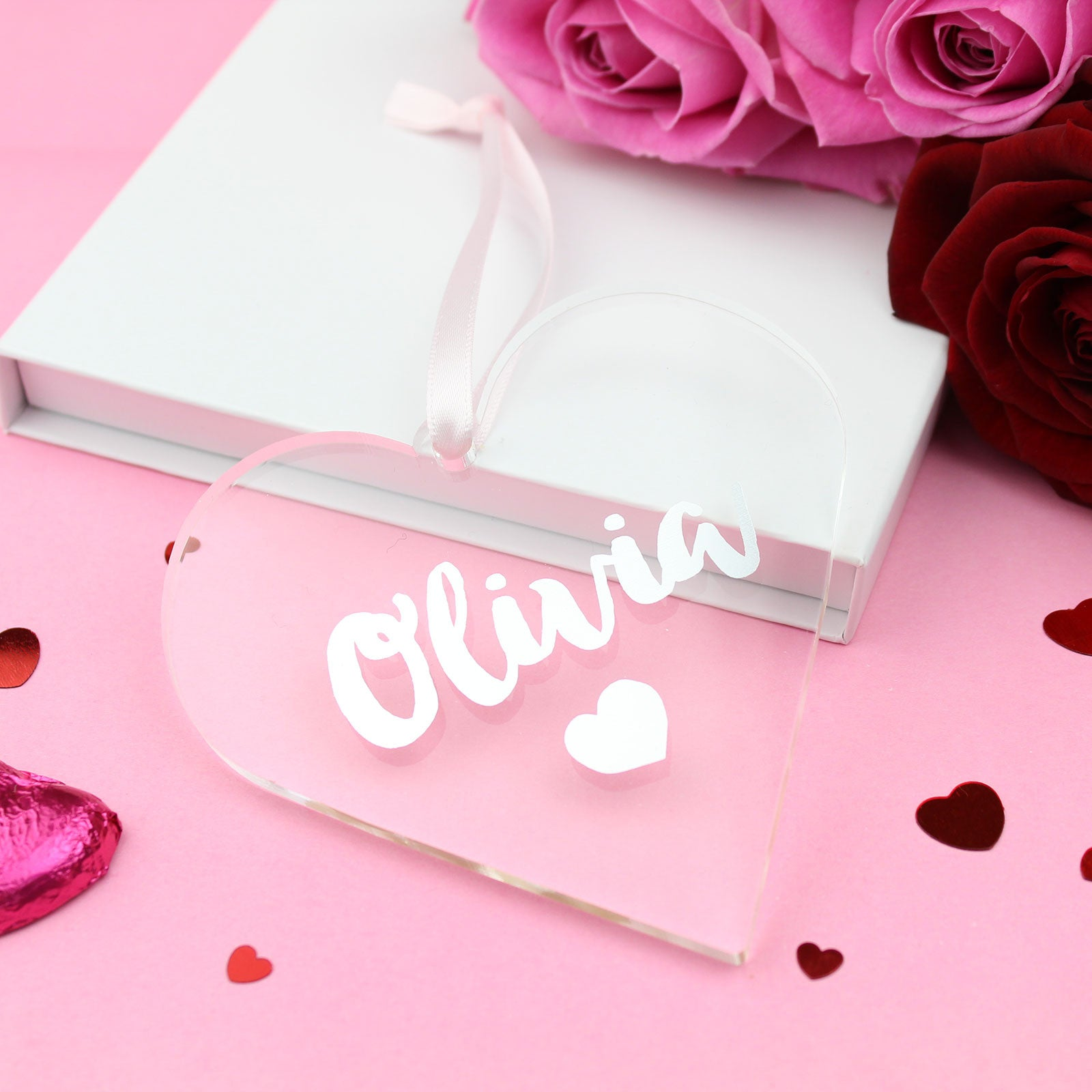 Personalised Name Foiled Acrylic Love Heart