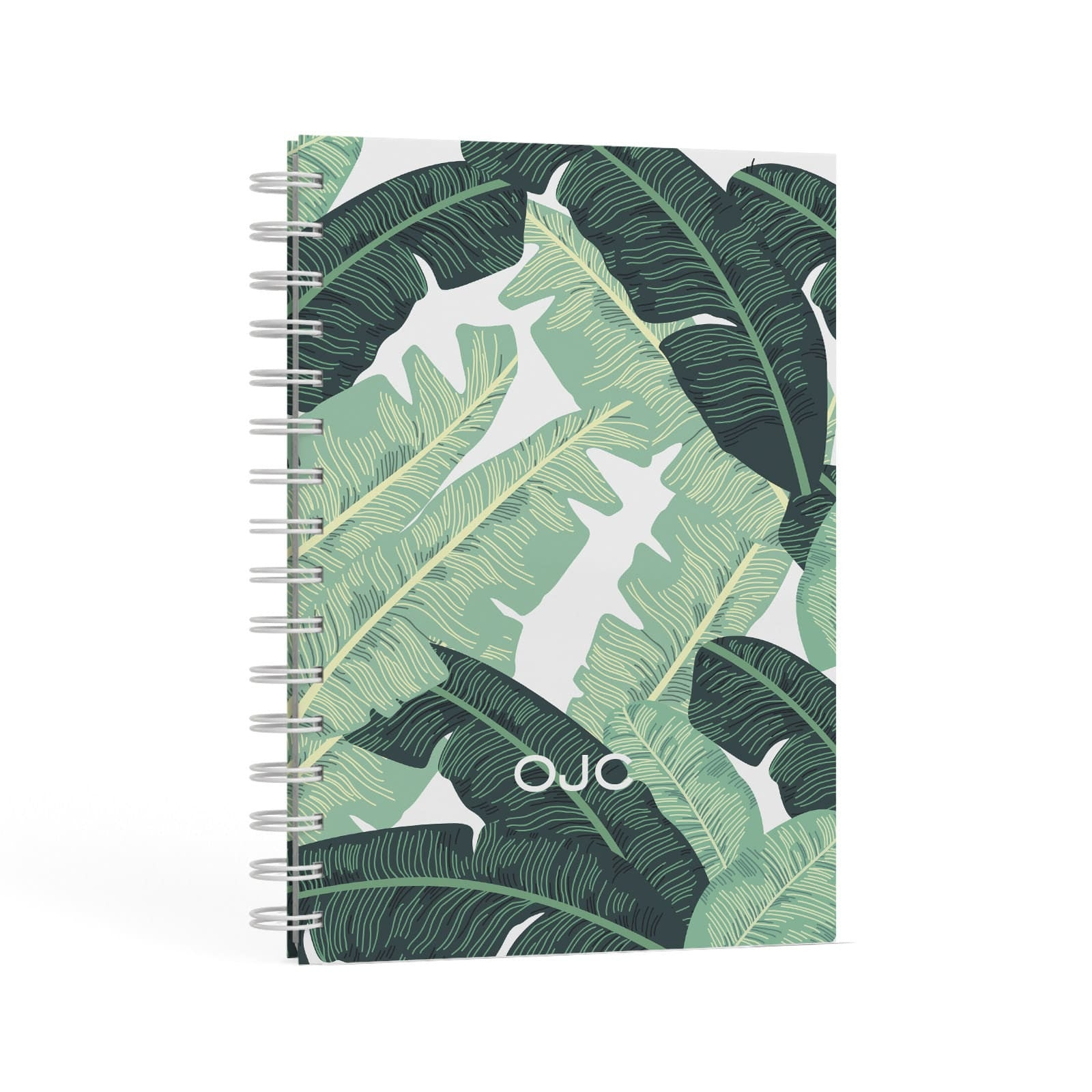 Personalised Palm Banana Leaf A5 Hardcover Notebook Second Side View