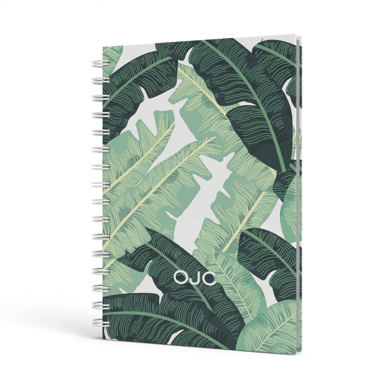 Personalised Palm Banana Leaf A5 Hardcover Notebook Side View