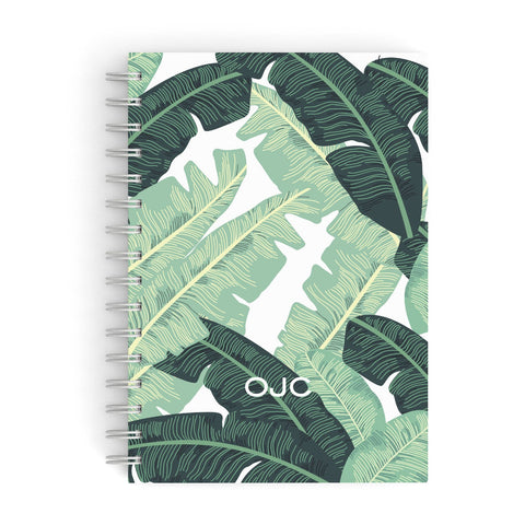 Personalised Palm Banana Leaf A5 Hardcover Notebook