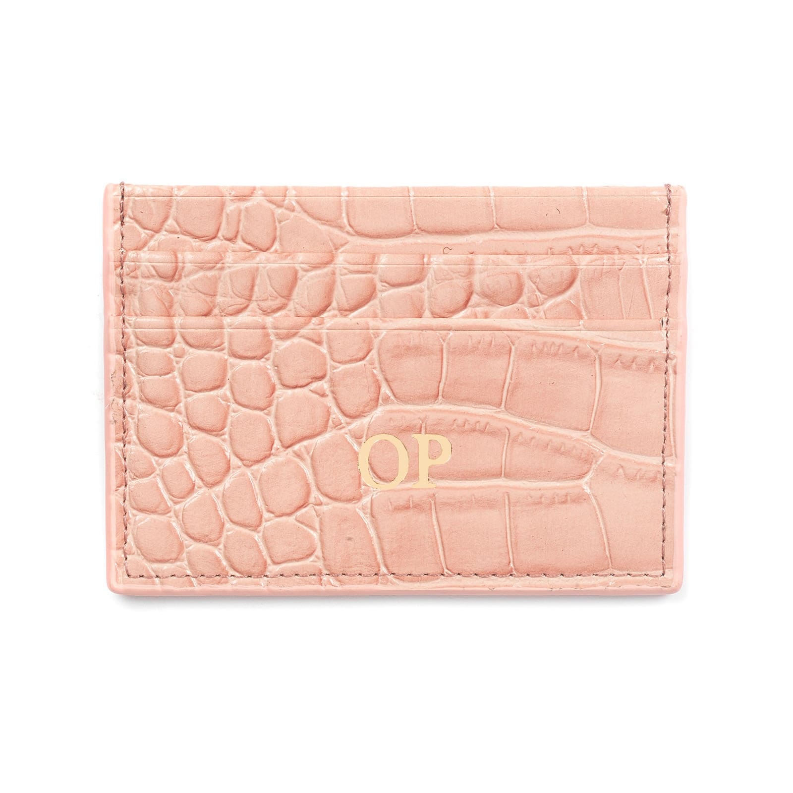 Personalised Pink Croc Leather Card Holder