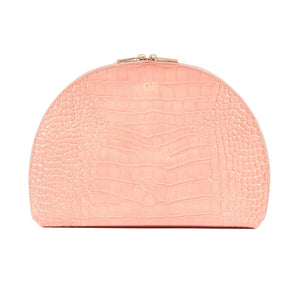 Personalised Pink Croc Leather Half Moon Clutch