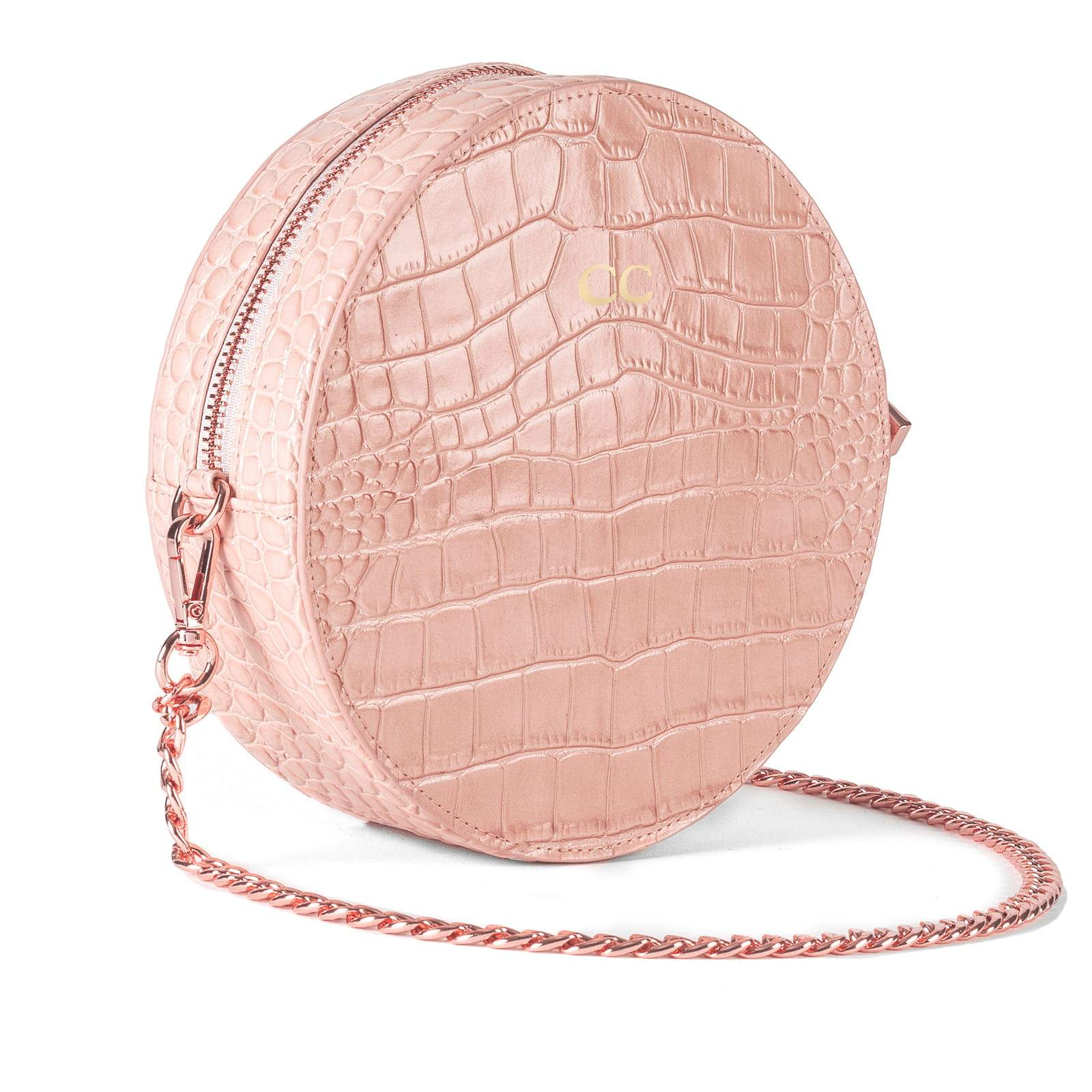 Personalised Pink Croc Leather Round Crossbody Bag Side Image