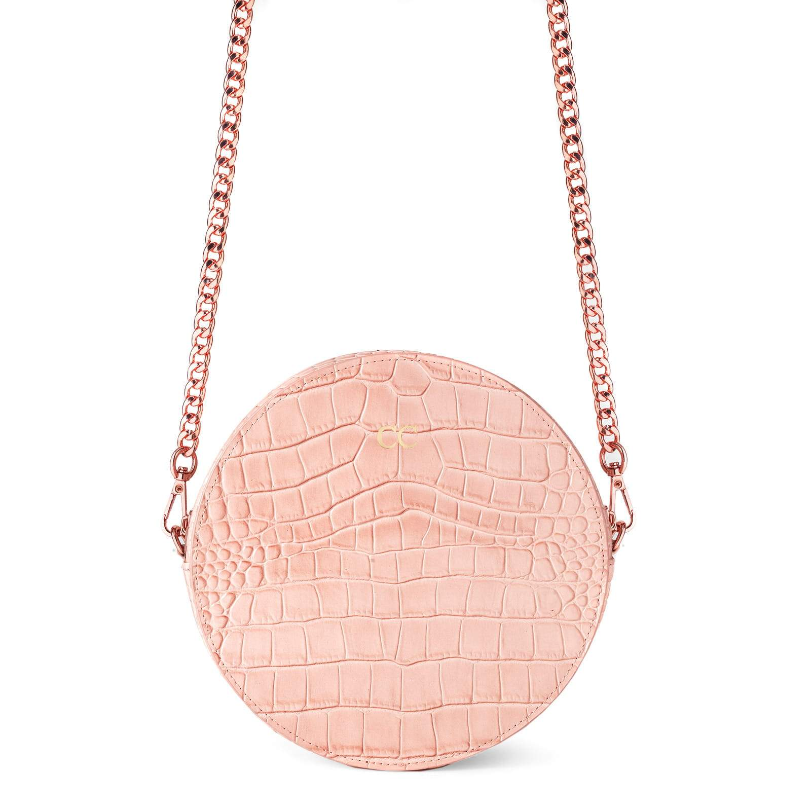 Personalised Pink Croc Leather Round Crossbody Bag