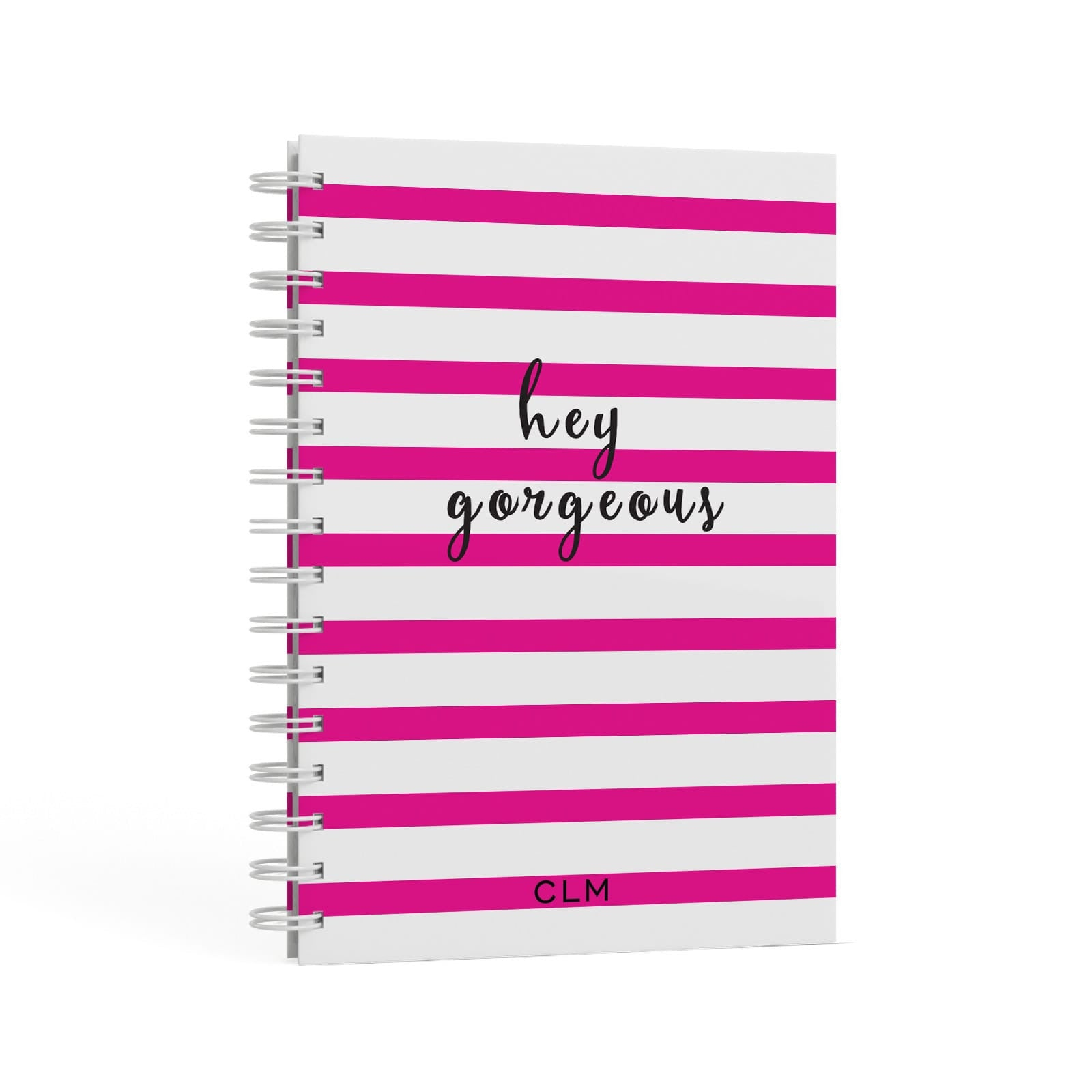 Personalised Pink Hey Gorgeous A5 Hardcover Notebook Second Side View