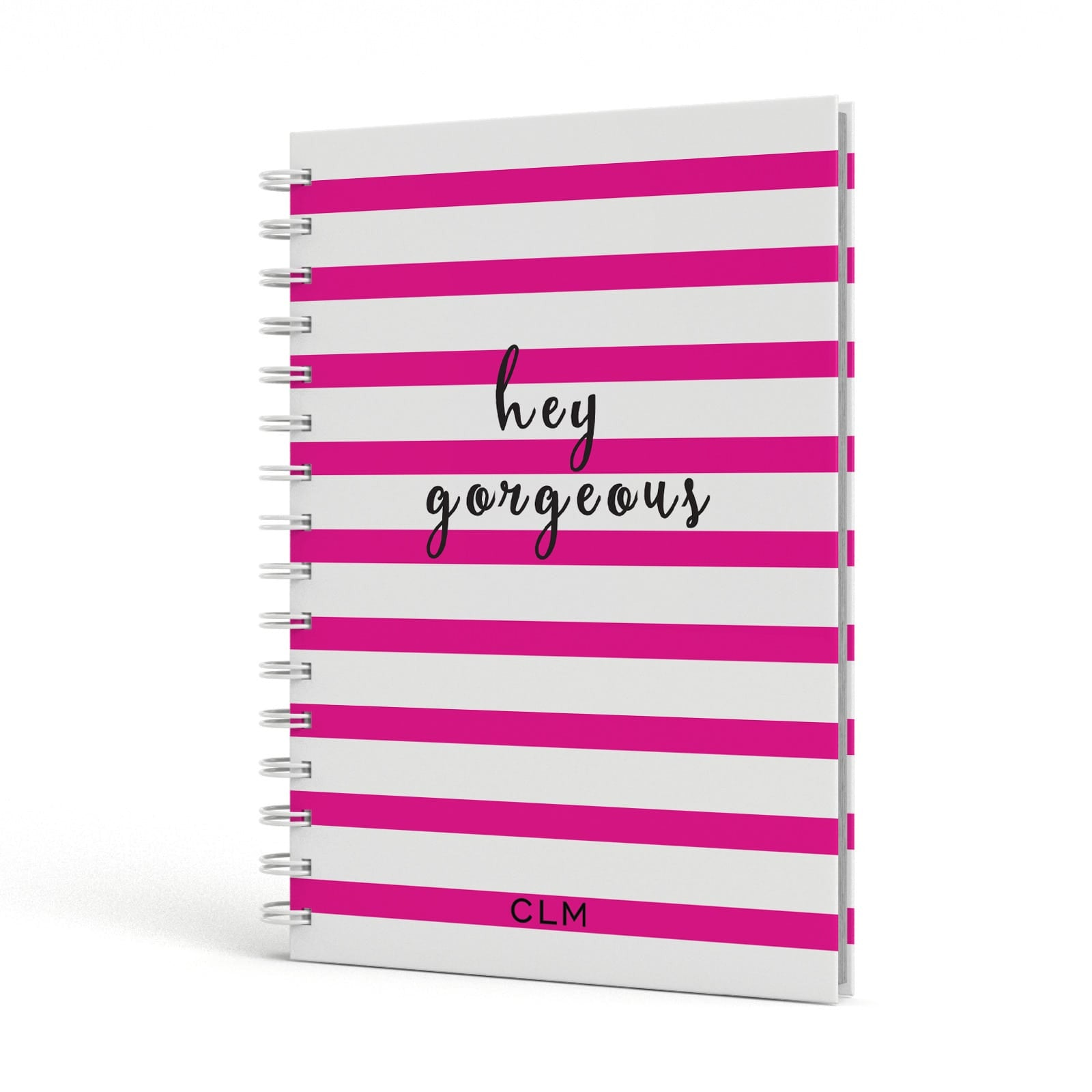 Personalised Pink Hey Gorgeous A5 Hardcover Notebook Side View