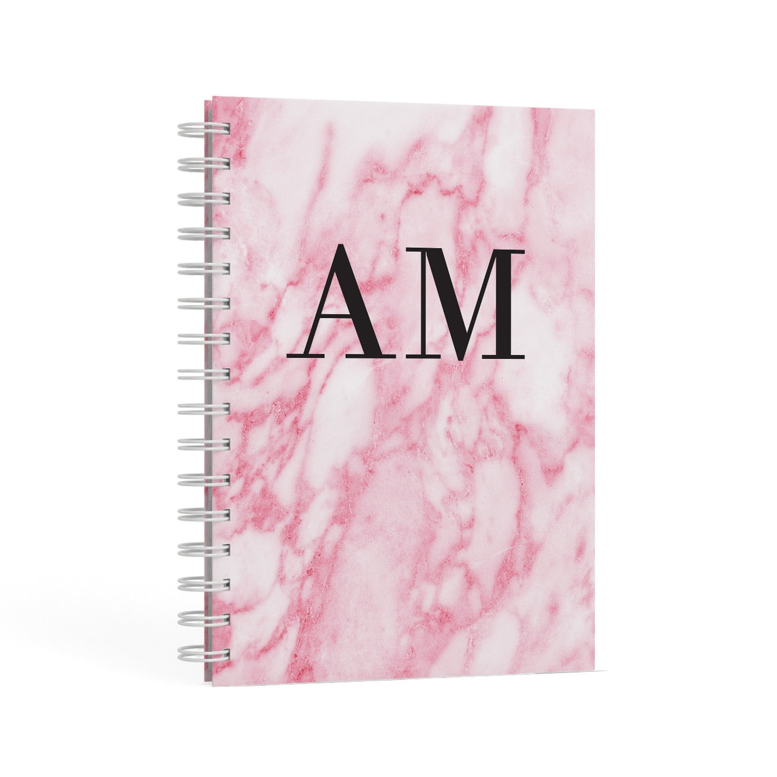 Personalised Pink Marble Monogrammed A5 Hardcover Notebook Second Side View