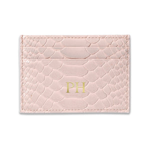 Personalised Pink Python Leather Card Holder