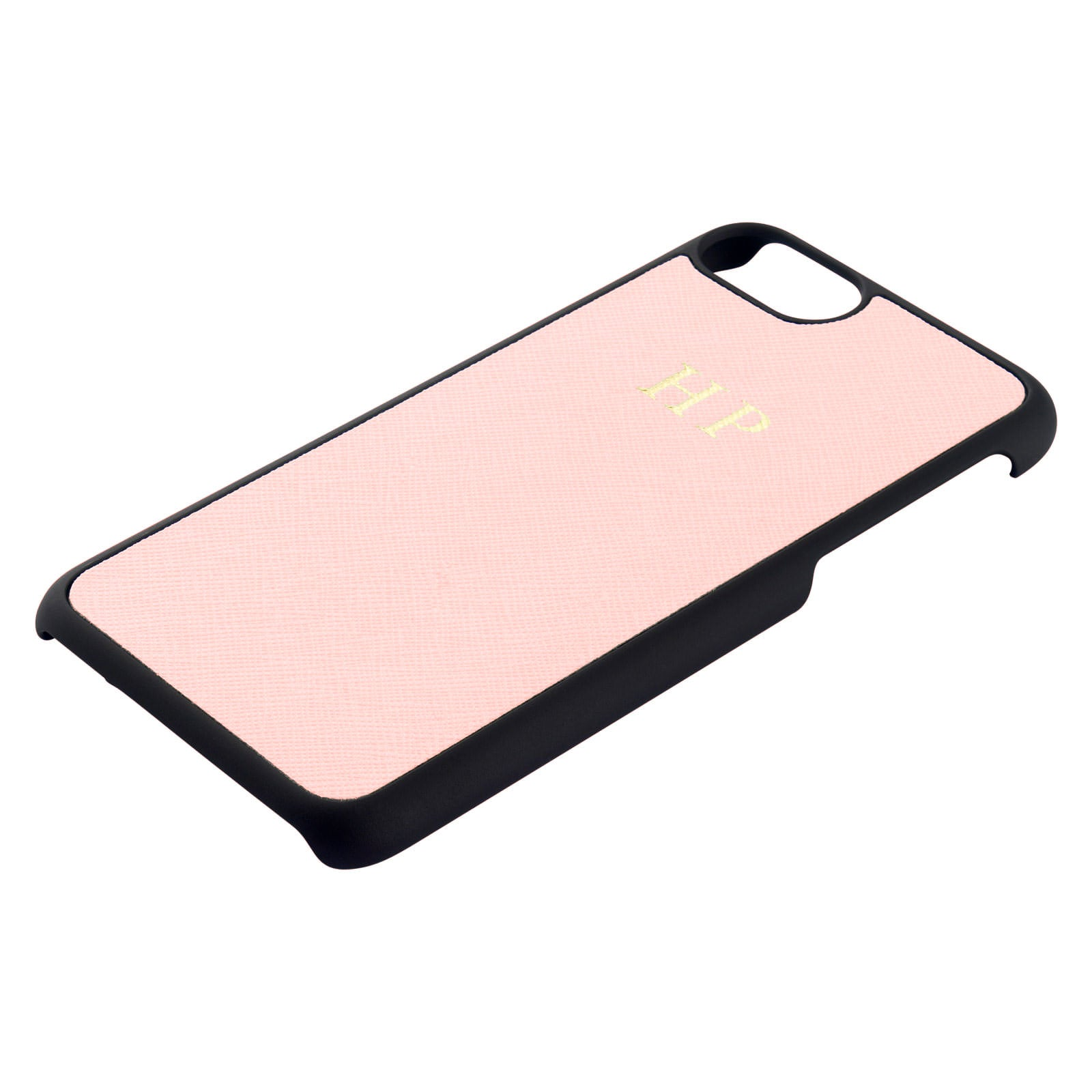 Personalised Pink Saffiano Leather iPhone Case Side Angle