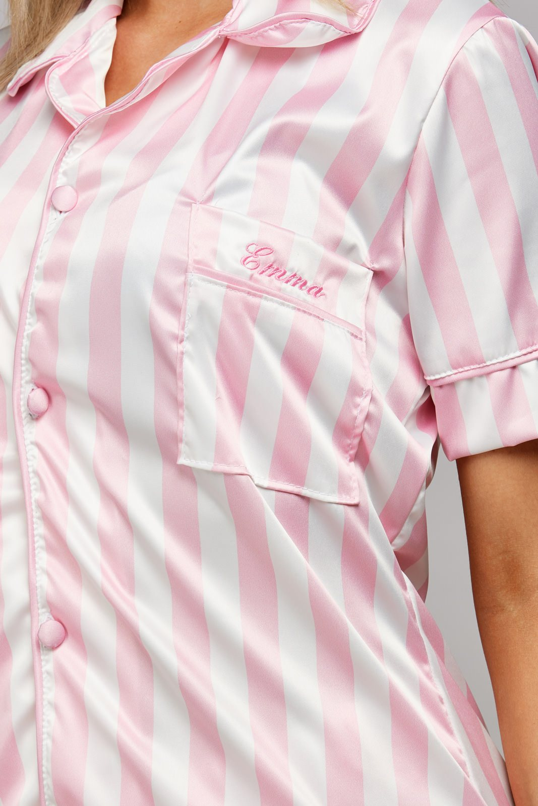 Personalised Pink & White Striped Short Pyjamas Embroidered