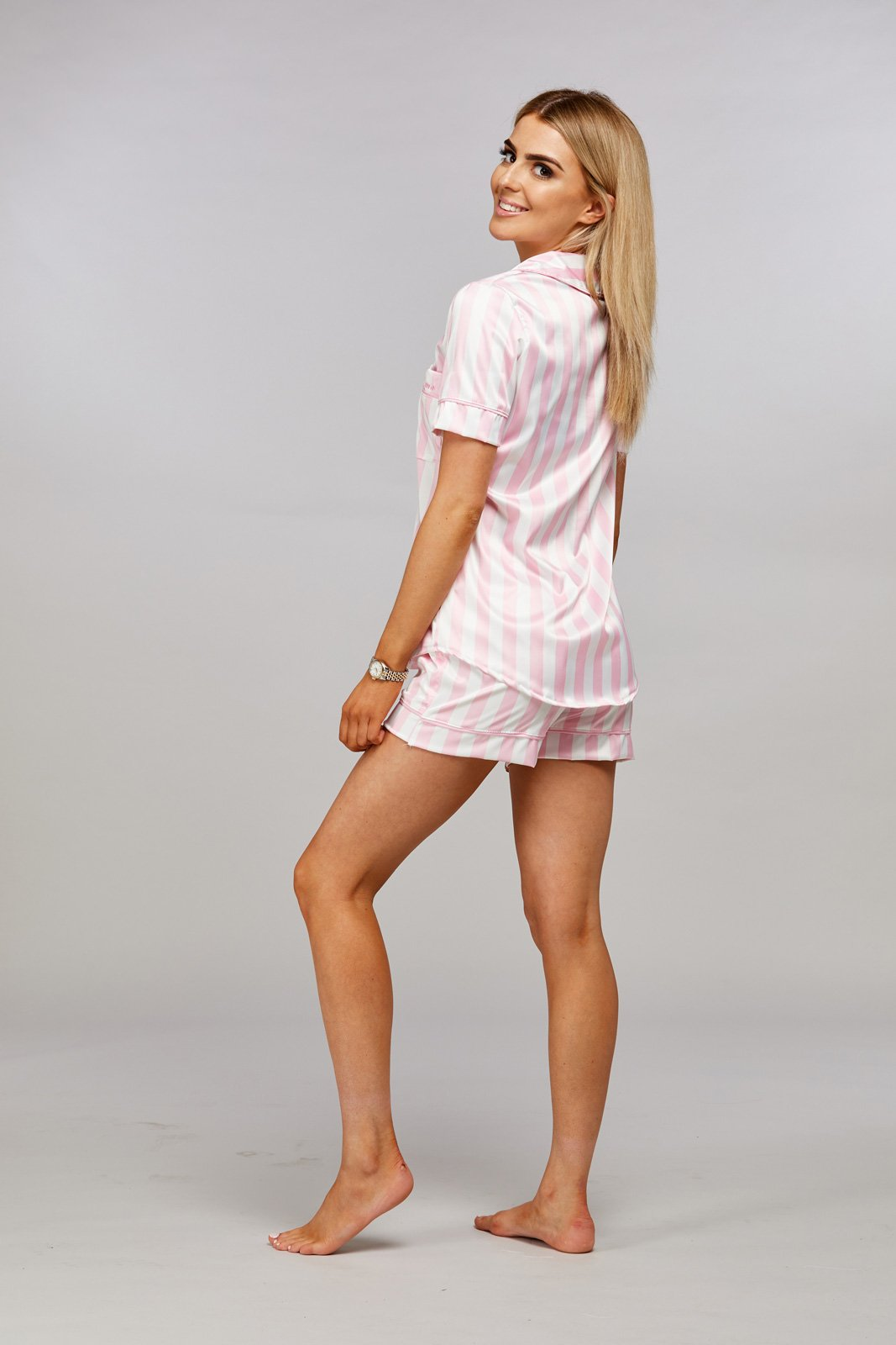 Personalised Pink & White Striped Short Pyjamas Side Angle
