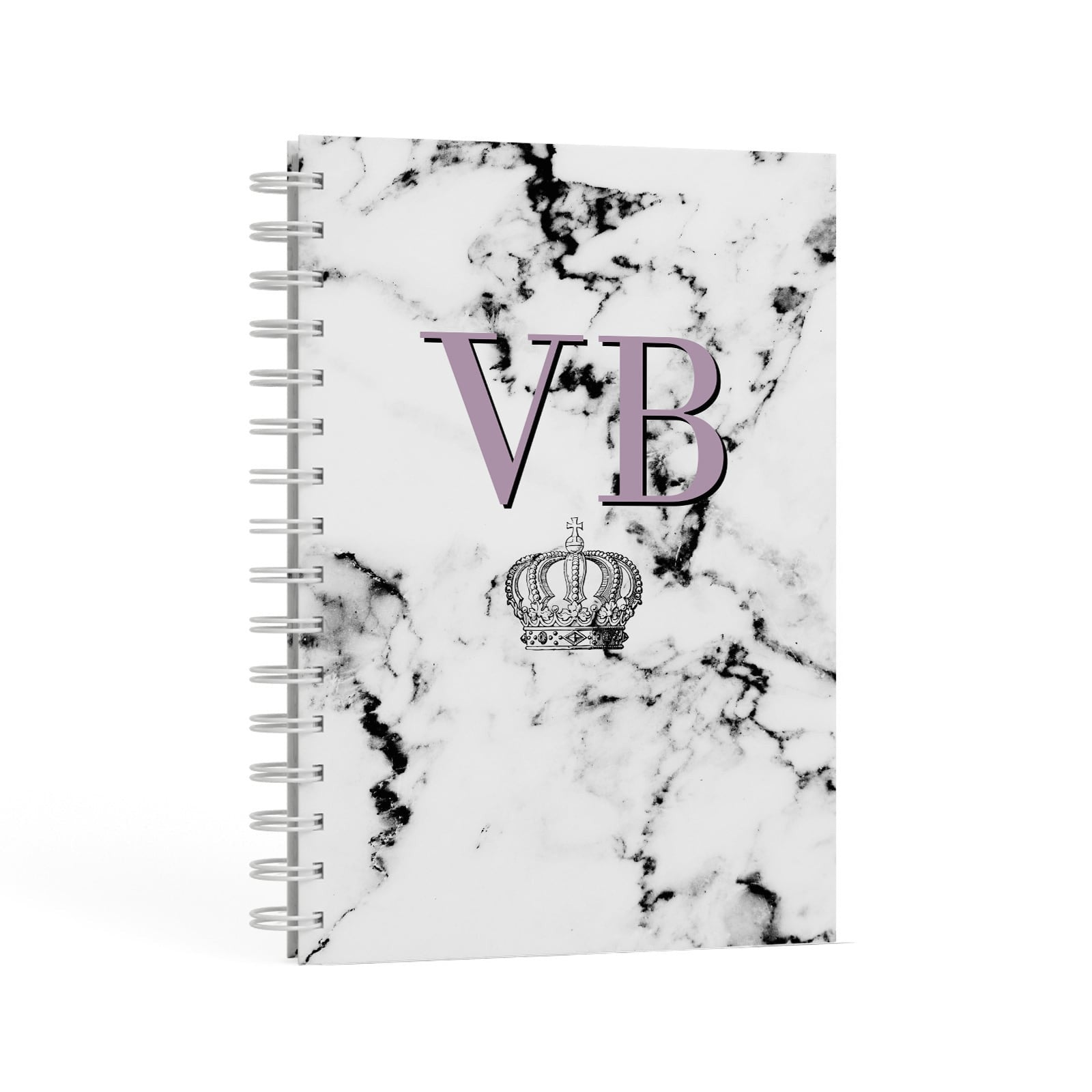 Personalised Princess Crown Initials Marble A5 Hardcover Notebook Second Side View