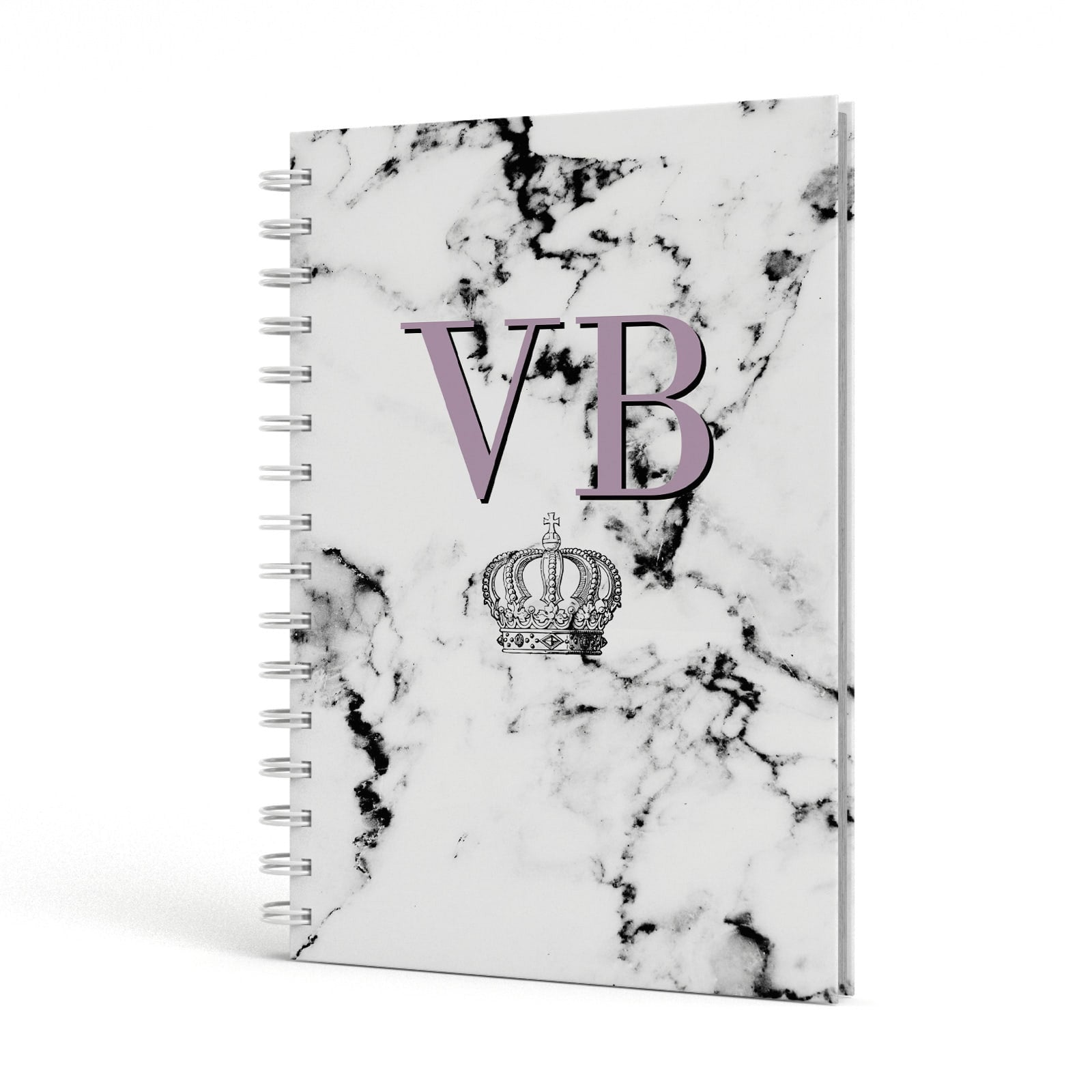 Personalised Princess Crown Initials Marble A5 Hardcover Notebook Side View