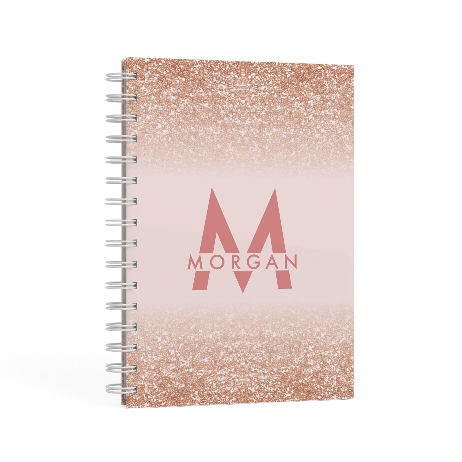 Personalised Printed Glitter Name Initials A5 Hardcover Notebook Second Side View