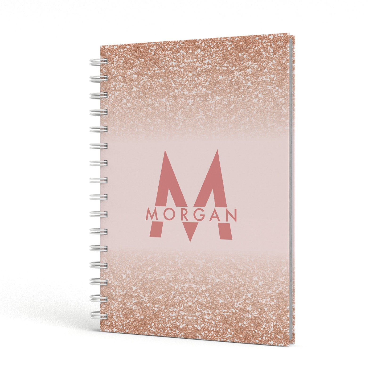 Personalised Printed Glitter Name Initials A5 Hardcover Notebook Side View