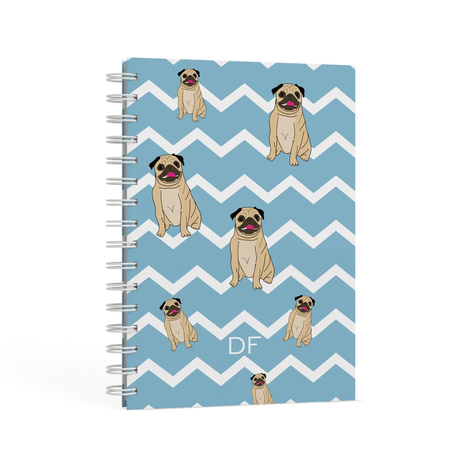 Personalised Pug Initials A5 Hardcover Notebook Second Side View