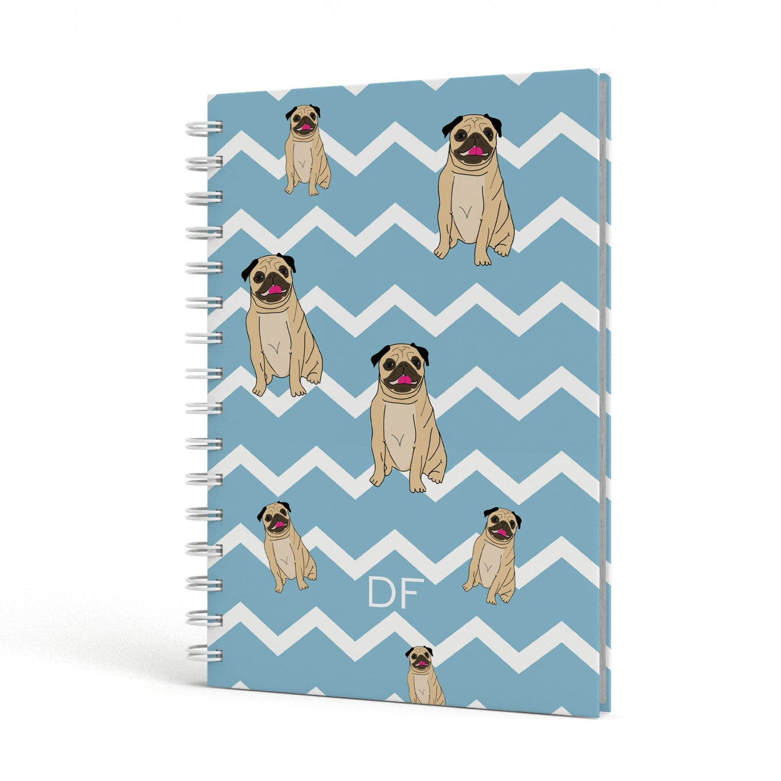Personalised Pug Initials A5 Hardcover Notebook Side View