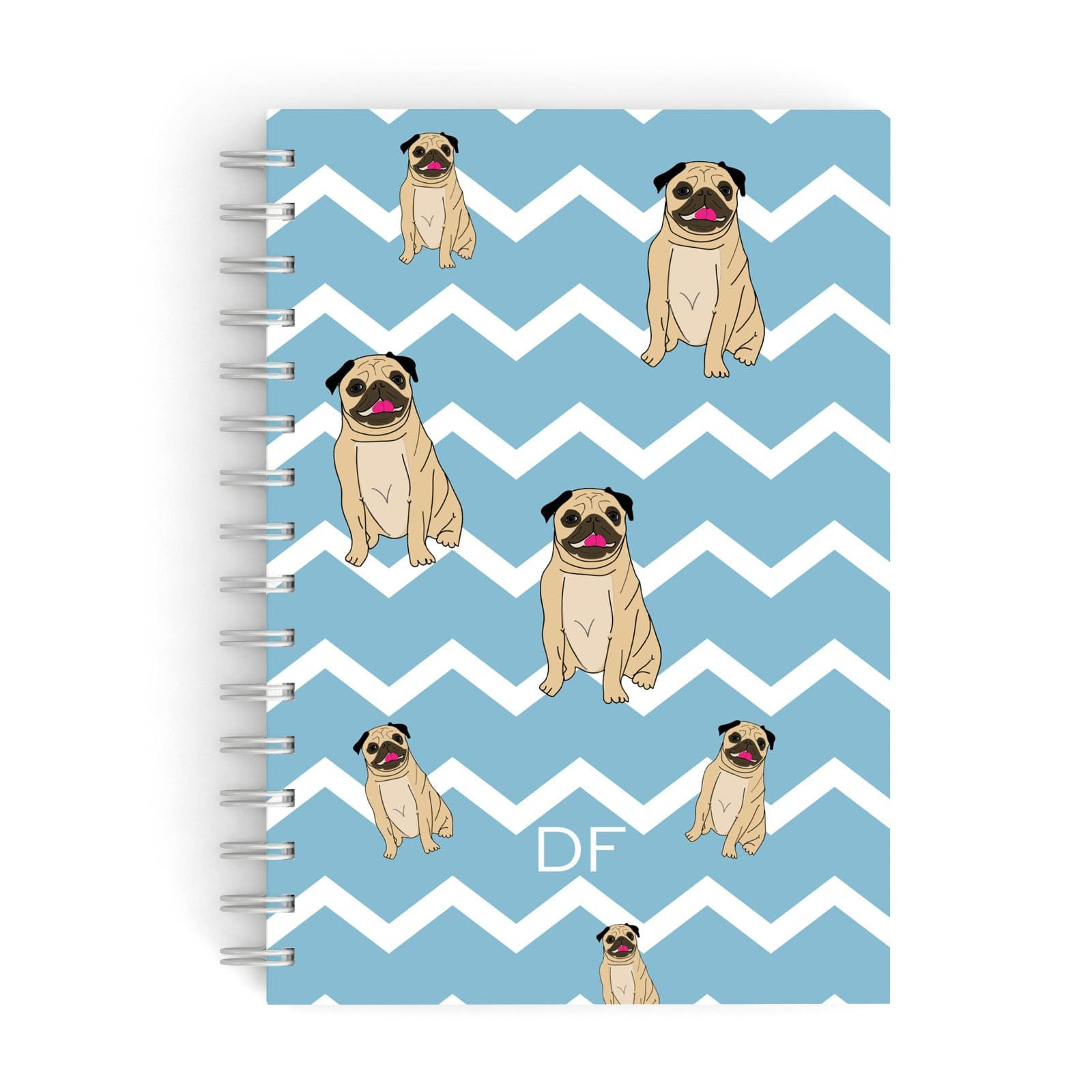 Personalised Pug Initials A5 Hardcover Notebook