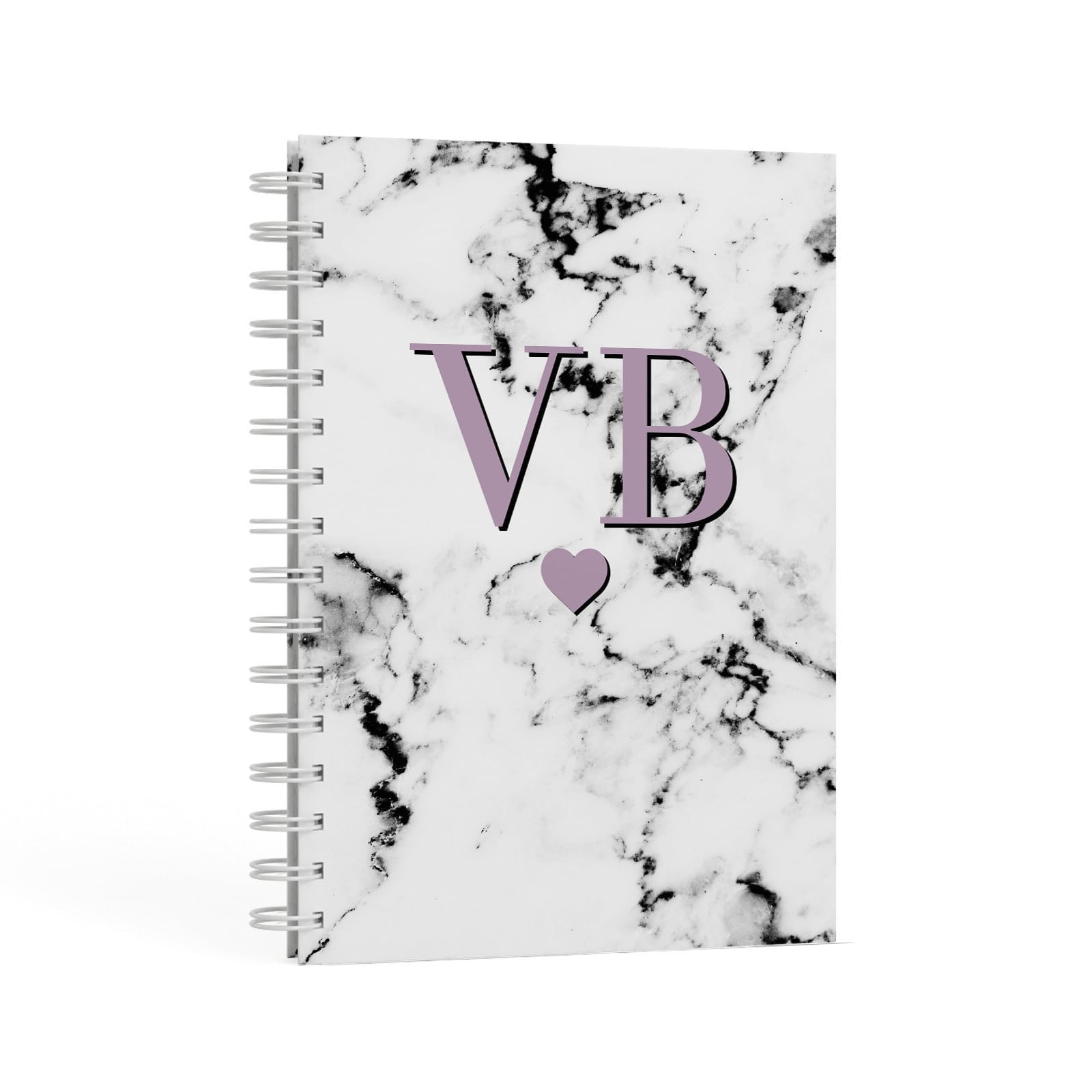 Personalised Purple Initialed Marble Heart A5 Hardcover Notebook Second Side View