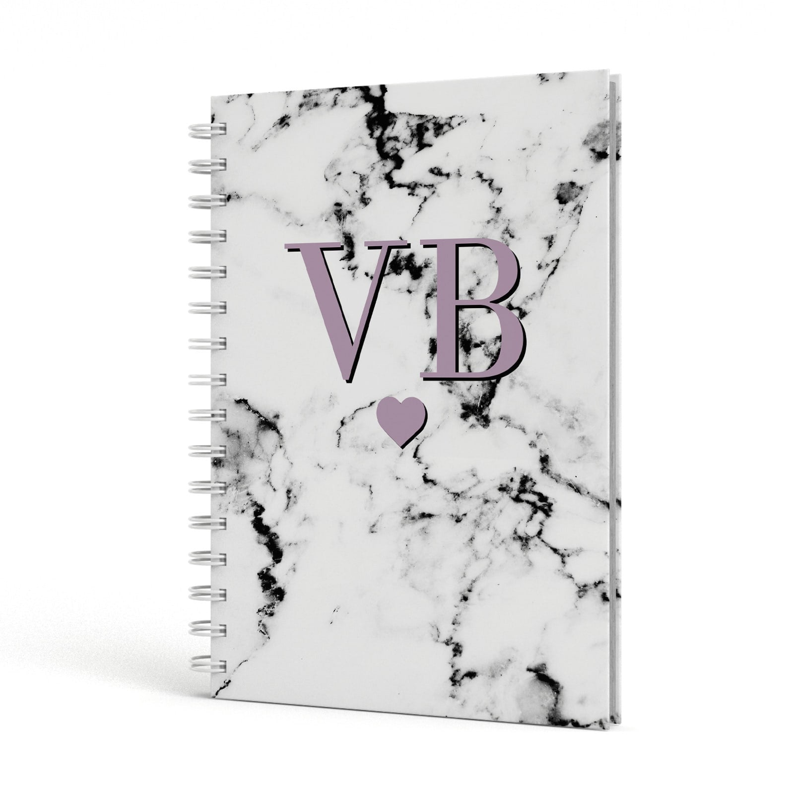 Personalised Purple Initialed Marble Heart A5 Hardcover Notebook Side View