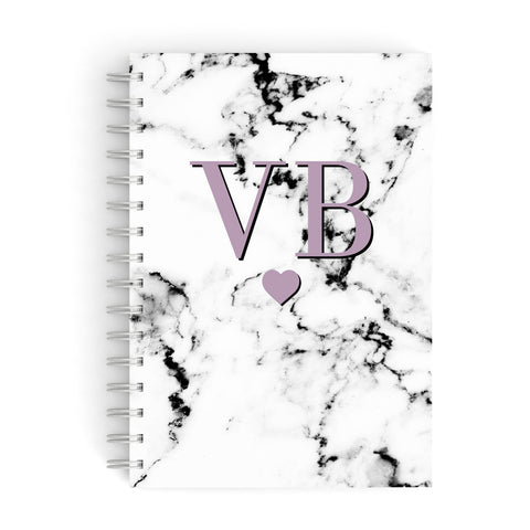 Personalised Purple Initialed Marble Heart A5 Hardcover Notebook