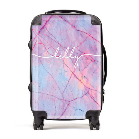 Personalised Purple Marble & Name Suitcase