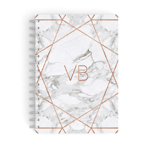 Personalised Rose Gold & Marble Initials A5 Hardcover Notebook