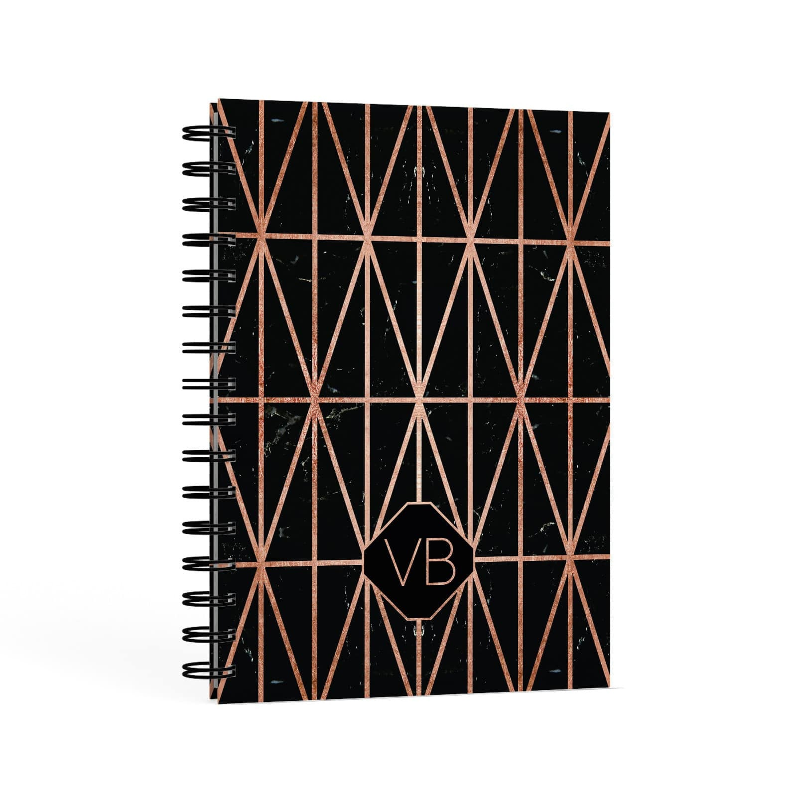 Personalised Rose Gold & Triangle Marble A5 Hardcover Notebook Second Side View