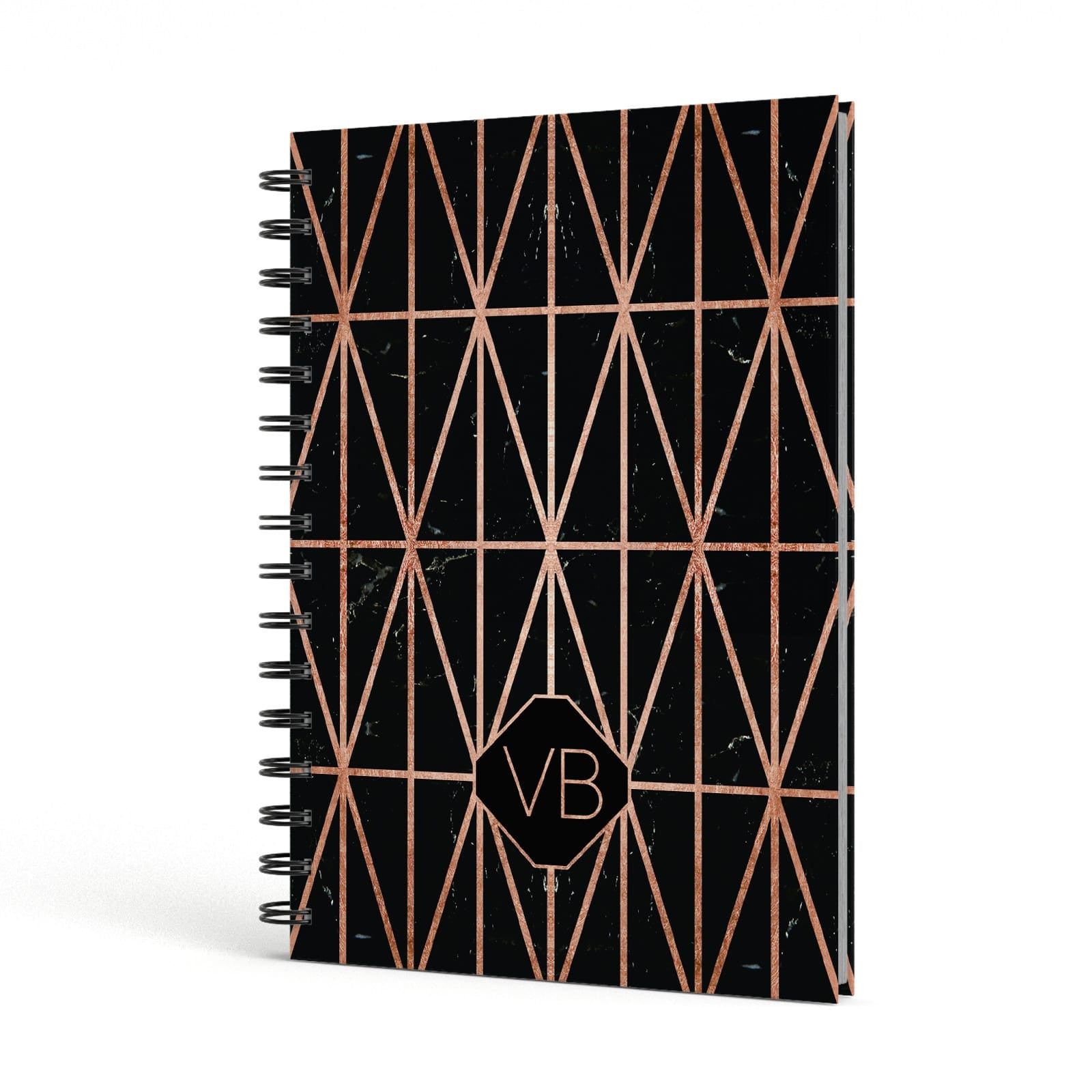 Personalised Rose Gold & Triangle Marble A5 Hardcover Notebook Side View