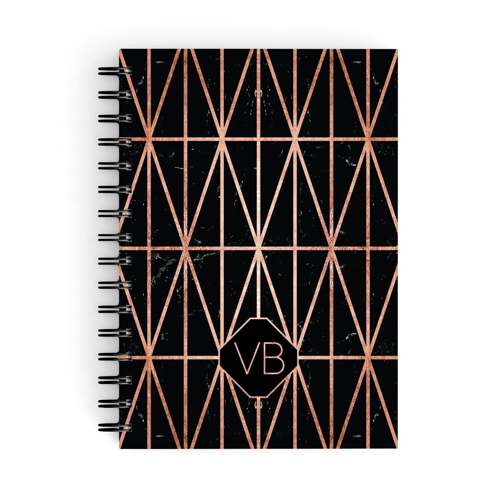 Personalised Rose Gold & Triangle Marble A5 Hardcover Notebook