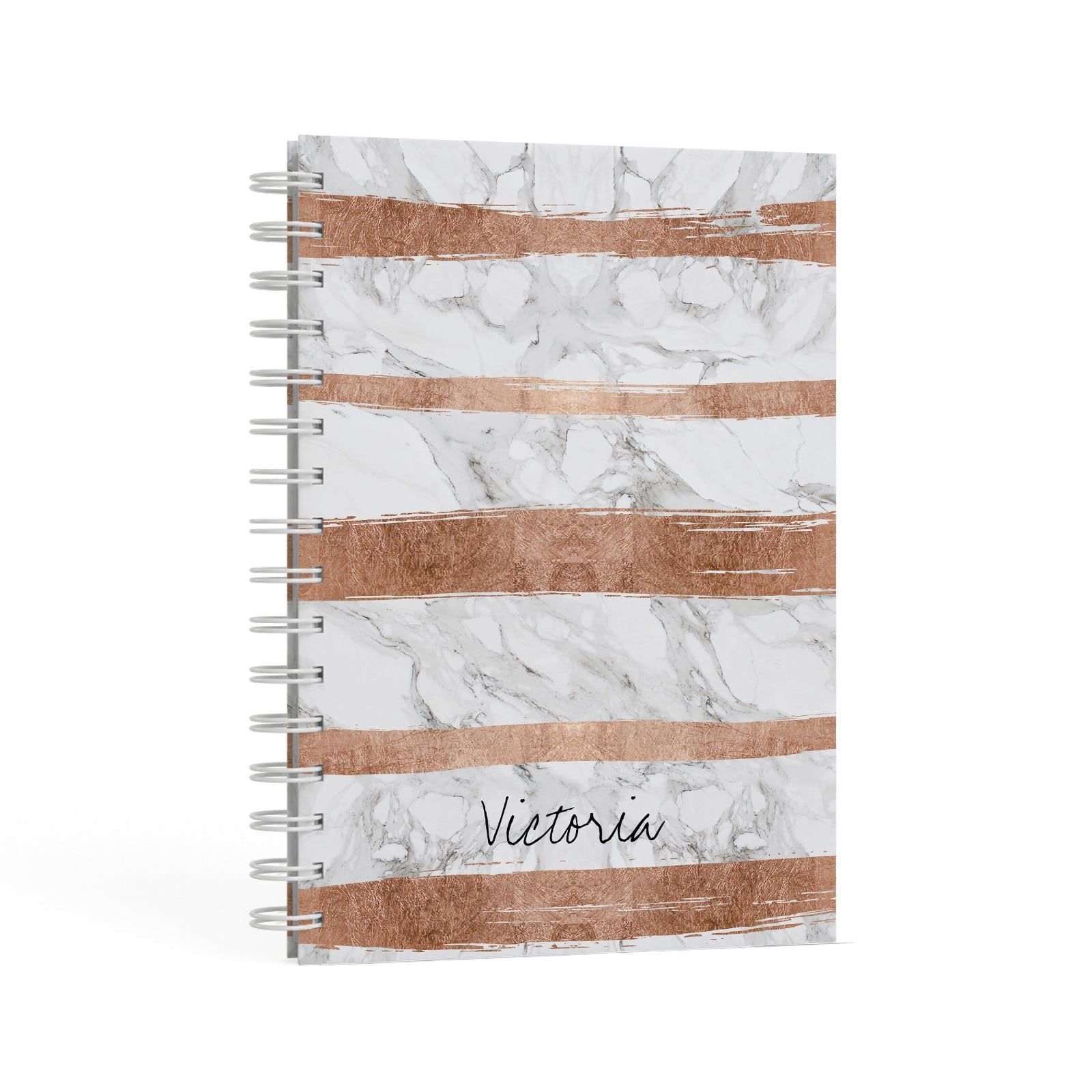 Personalised Rose Gold Brush Marble Initial A5 Hardcover Notebook Second Side View