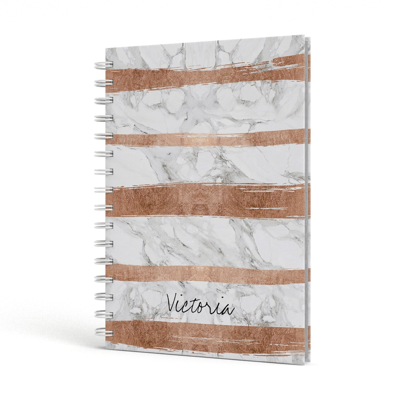 Personalised Rose Gold Brush Marble Initial A5 Hardcover Notebook Side View