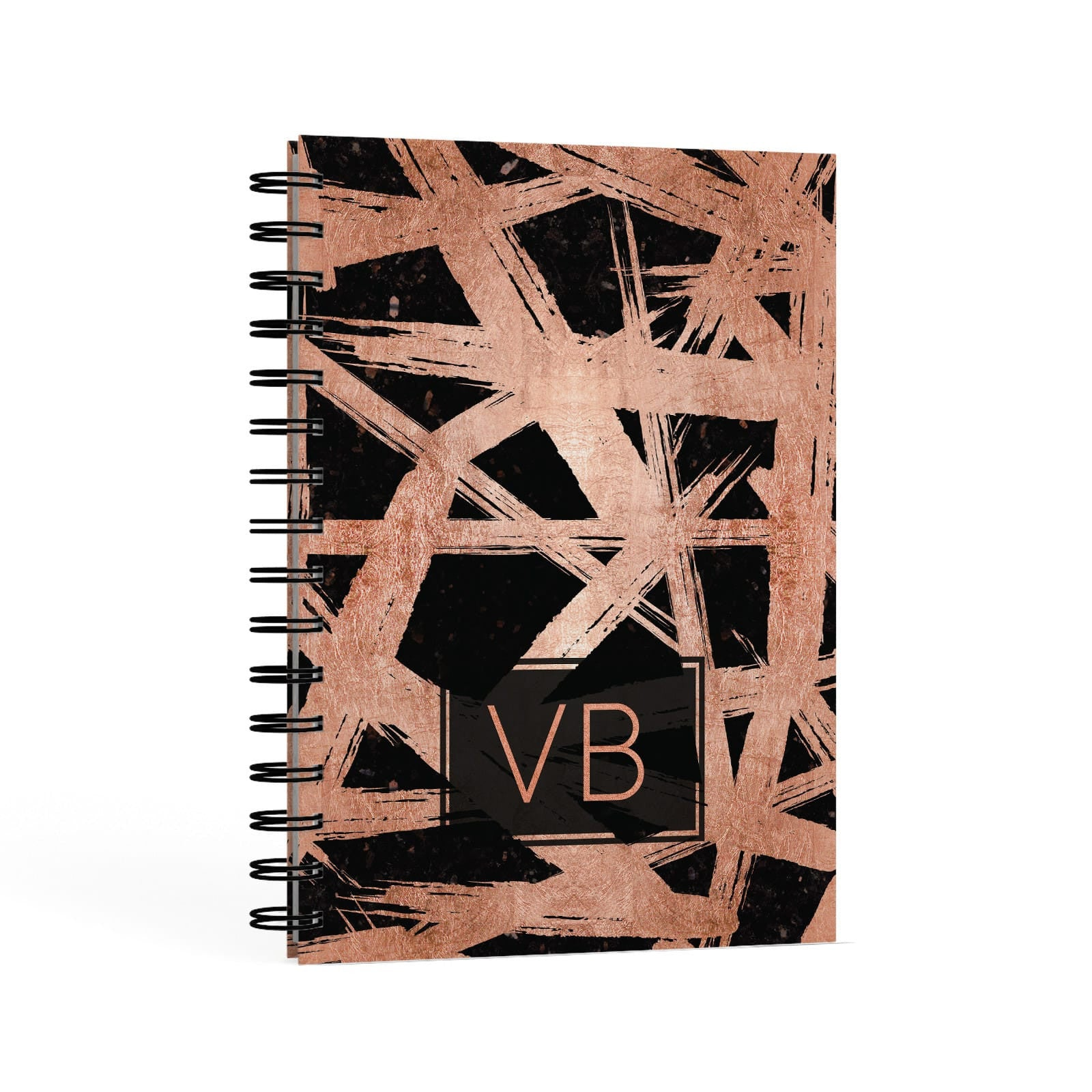 Personalised Rose Gold Effect A5 Hardcover Notebook Second Side View