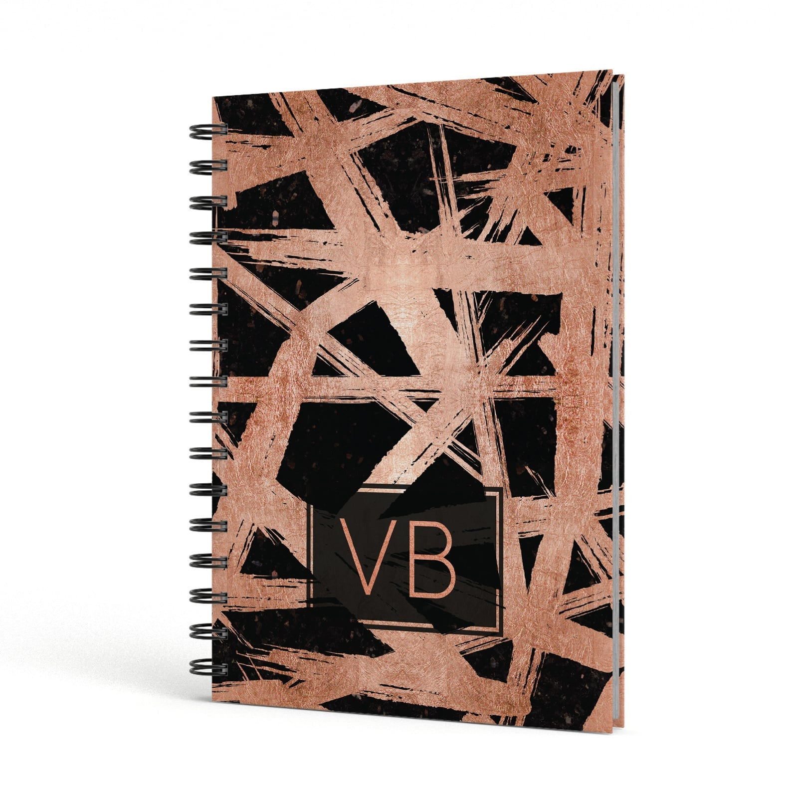 Personalised Rose Gold Effect A5 Hardcover Notebook Side View