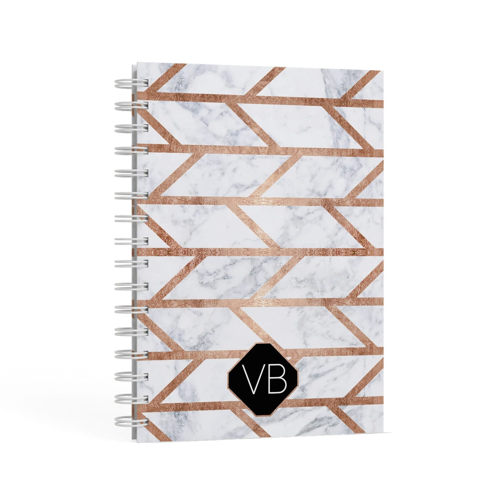 Personalised Rose Gold Faux Marble Initials A5 Hardcover Notebook Second Side View