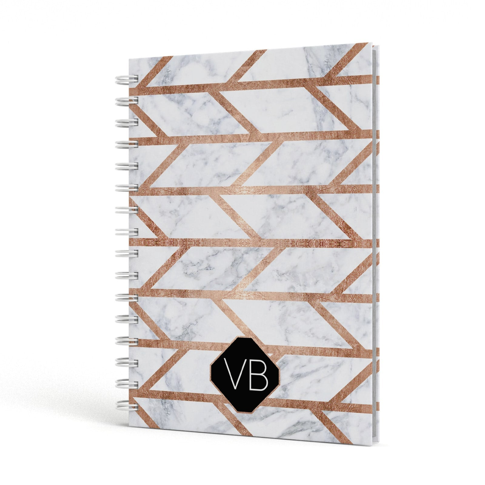 Personalised Rose Gold Faux Marble Initials A5 Hardcover Notebook Side View