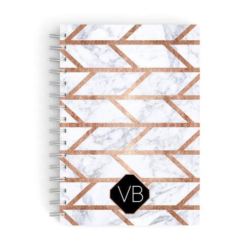 Personalised Rose Gold Faux Marble Initials A5 Hardcover Notebook