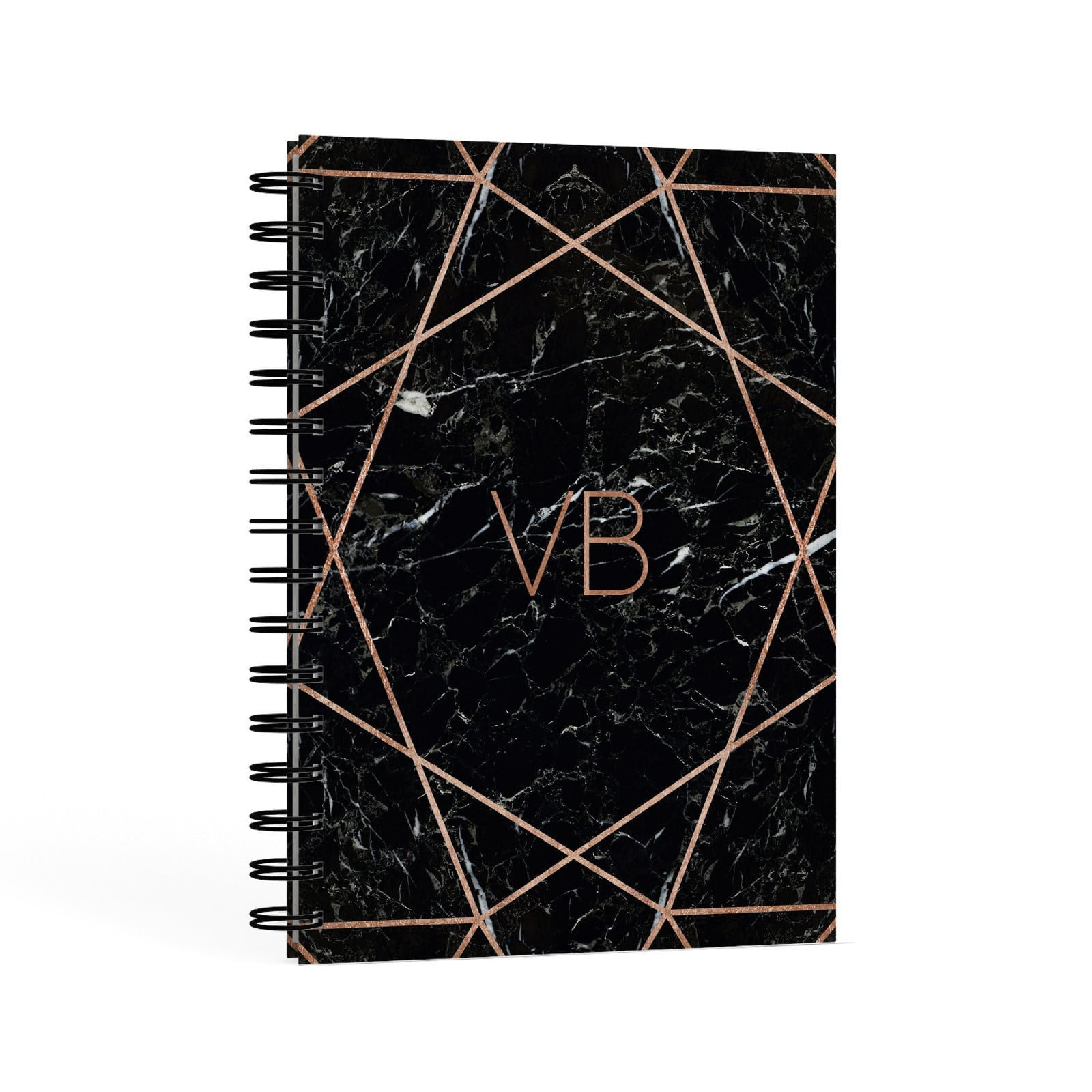 Personalised Rose Gold Geometric Initials A5 Hardcover Notebook Second Side View