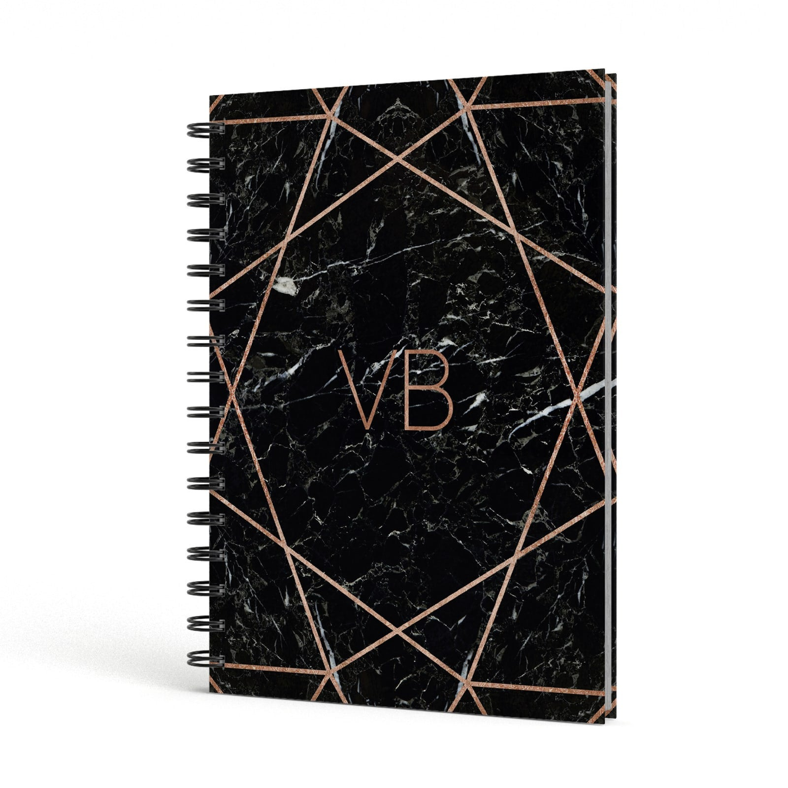 Personalised Rose Gold Geometric Initials A5 Hardcover Notebook Side View