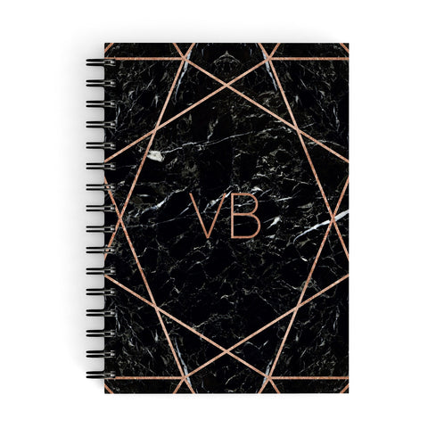Personalised Rose Gold Geometric Initials A5 Hardcover Notebook