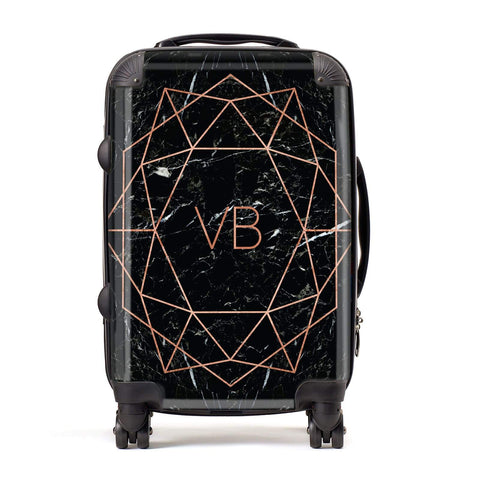 Personalised Rose Gold Geometric Initials Suitcase